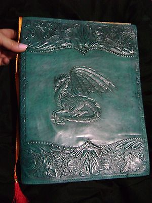 GREEN DRAGON BOOK OF SHADOWS leather handmade journal NEW BLANK LARGE THICK