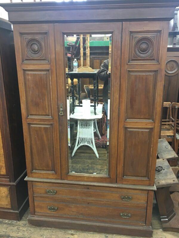 Antique Scottish  Mahogany Wardrobe Armoire Mirror Door Old Original Aberdeen