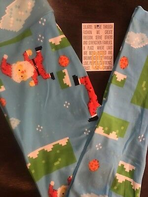 LuLaRoe 2018 Christmas Leggings One Size (0-8) Pixel Santa Minecraft On - Minecraft Santa