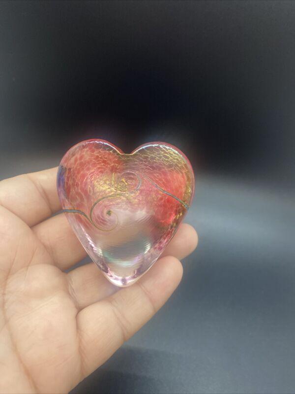 """Signed ROBERT HELD ART GLASS HEART Paperweight 2.5"""""""