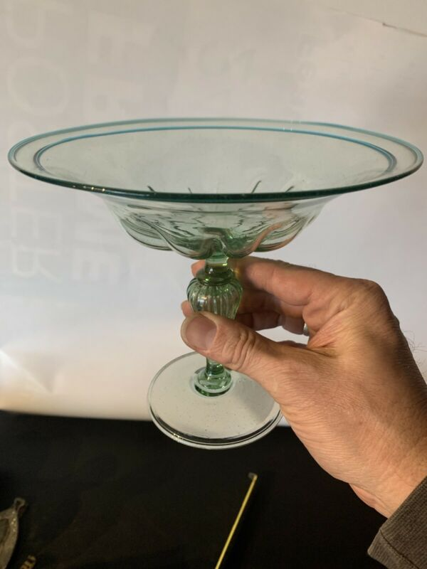 Vintage STEUBEN ? Glass Hand Blown Tazza Compote Early Green W/ Blue Rim