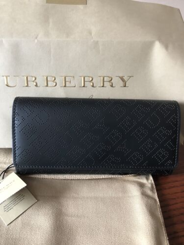 Burberry Perforated Logo leather Continental Wallet New