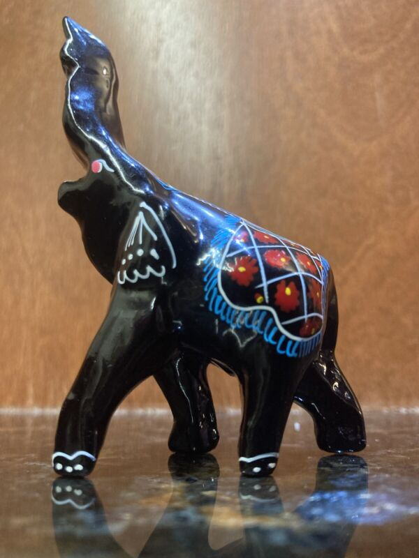 Beautiful Small Black Laquer Hand Painted Wood Elephant