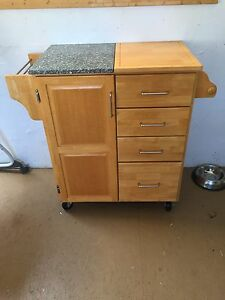 Moveable island with granite countertop