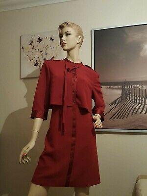 KAREN MILLEN Elegant Sample Dress In Burgundy UK 14 Brand New