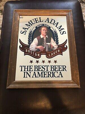 Vintage Samuel Adams Beer Mirror Boston Lager Best Beer America Sam framed sign