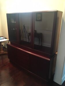 100% solid wood sideboard, buffet hutch, with glass cabinet