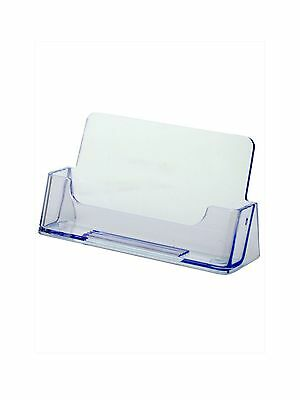 Ridged Single Pocket Acrylic Counter Desk Top Business Card Holder - Clear
