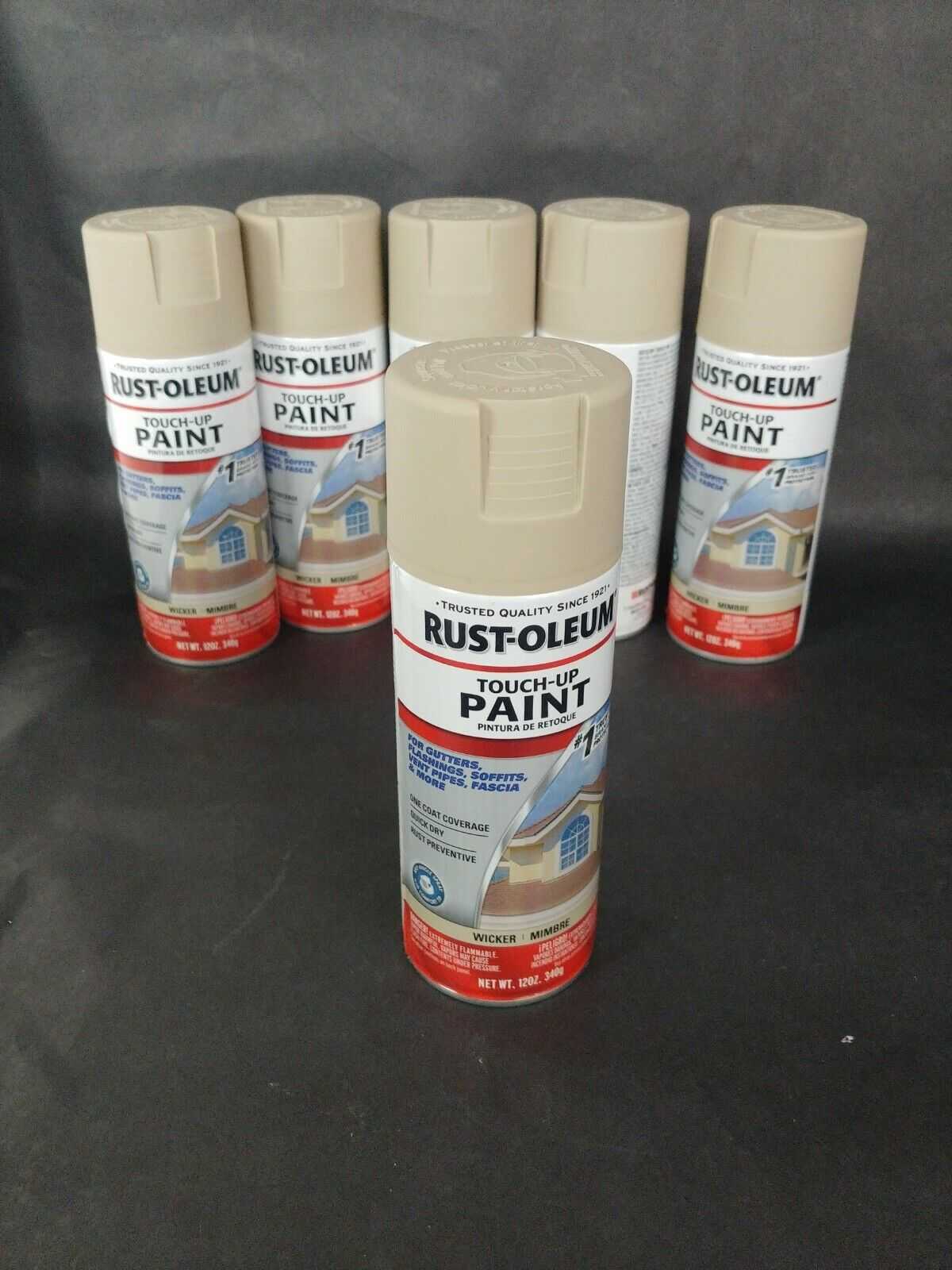 Rust Oleum touch up paint wicker tan 12oz can gutter flashin