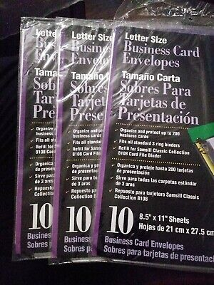 Samsill Business Card Pages For Three Ring Binder Lot Fo 3 -10pack Clear