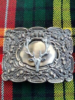Men's Round Thistle Stag Head Kilt Belt Buckle Brass Antique & Chrome Finish