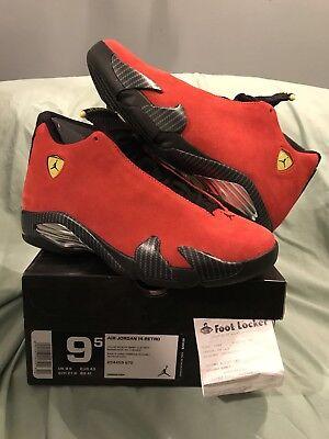 Nike Air Jordan 14 XIV Retro SZ 9.5 Ferrari Chilling Red Suede Toro 654459-670