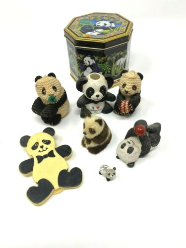 Panda Lot 8 Piece And Collectible Tin  Ceramic Crystal Fabric