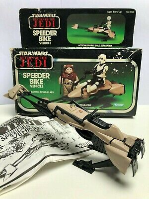 Complete Vintage Star Wars Speeder Bike With Flaps Box and Instructions 1983