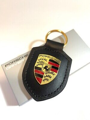 New Porsche GENUINE CREST Leather ACCESSORY Keyfob Keychain Porsche Emblem Black