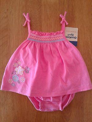 OshKosh Baby Girls 6M Pink 2 Piece Sunsuit Set Flower Spring Summer NWT NEW