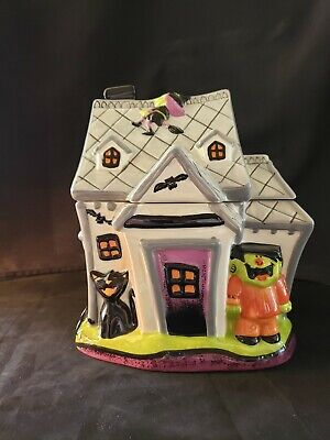 Halloween Haunted House Ceramic Cookie Jar: Black Cats-Bats-Witches-Dated 2008