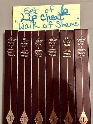 """SET OF 6 ! - Charlotte Tilbury Lip Cheat """"Walk Of Shame"""" NIB .04 oz Each"""
