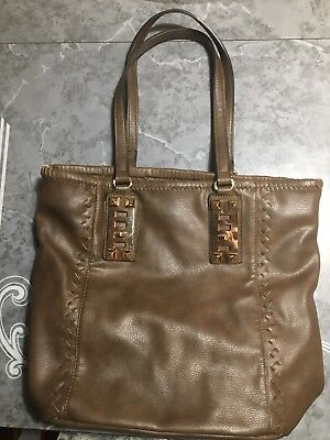 - Large Brown Soft Faux Leather Purse Gold Accent Hobo/Tote Bag Drop Handle