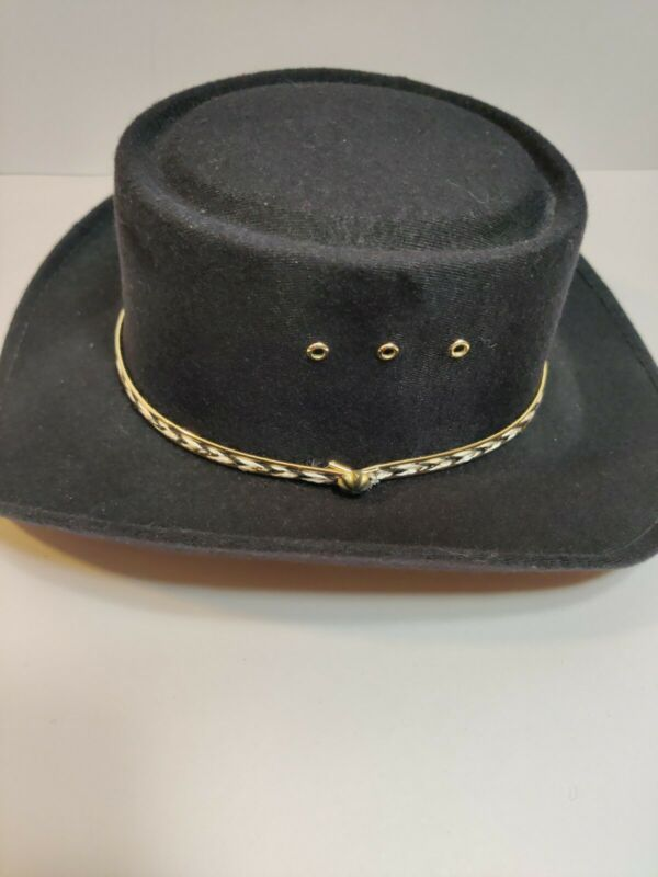 Arlop On Your Head Black With Gold Trim Design Cowboy Hat Size 6 1/2