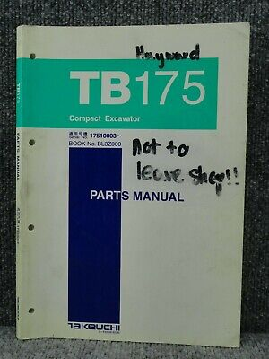 Oem Factory Takeuchi Tb175 Compact Excavator Parts Catalog Manual Book List