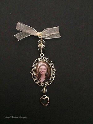 charm - heart -buttonhole photo memorial - wedding keepsake (Gold-bouquet)