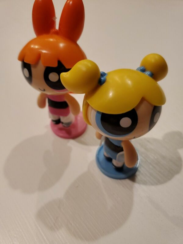 POWER PUFF GIRLS Bobble Heads BUBBLES and BLOSSOM Lot of 2