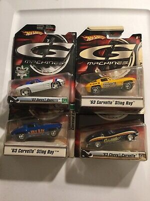 G MACHINES HOT WHEELS LOT OF 4 CHEVY CORVETTE 1963 - 1:50 SCALE DIECAST NEW