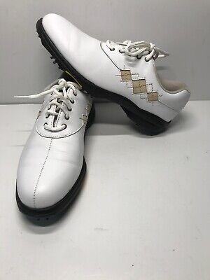 Argyle Golf Schuhe (Footjoy Womens e-Comfort Golf Shoes White Tan Argyle Stitch 98530 FJ Size 7 N)