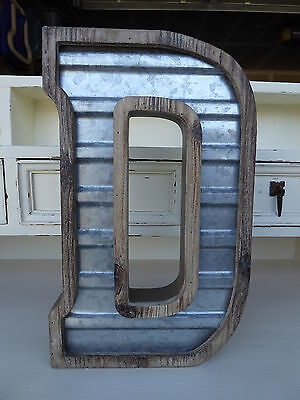 Large WOOD & CORRUGATED METAL - Wedding Home Family - Wall INDUSTRIAL LETTER  D