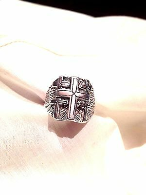 1980's Vintage Large Stainless Steel Size 13 Men's CrossInlay Ring