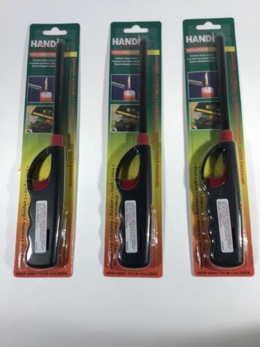 3 PK BBQ Grill Lighter Refillable Butane Gas Candle Fireplace Kitchen Stove