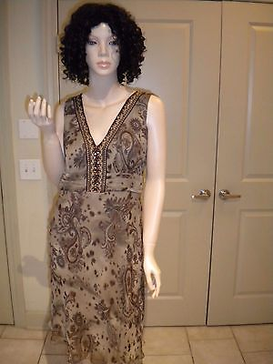 Signature By Robbie Bee Taupe 100% Silk Paisley Printed Sleeveless Dress 8P Paisley Printed Silk Dress