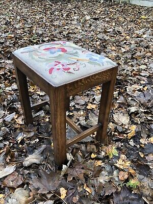 Antique Solid Piano/dressing Oak Stool Tapestry Style 1930's
