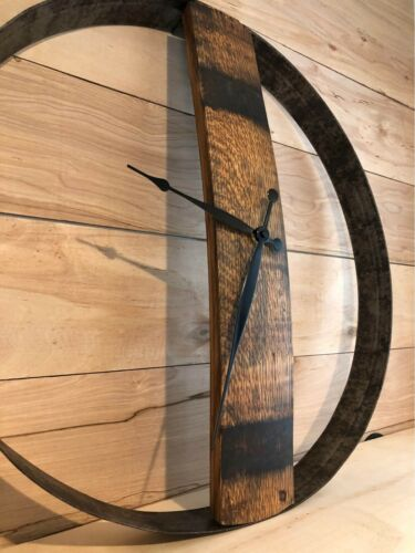 Repurposed Whiskey Barrel Ring and Stave Clock