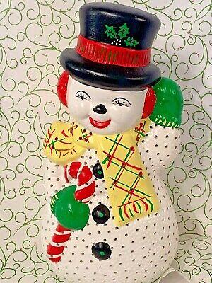 Vintage Christmas Ceramic Mold Frosty Snowman Light Up Figurine Holiday