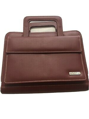 Franklin Covey Quest 7 Ring Binder Planner Burgundy Leather With Handles Used