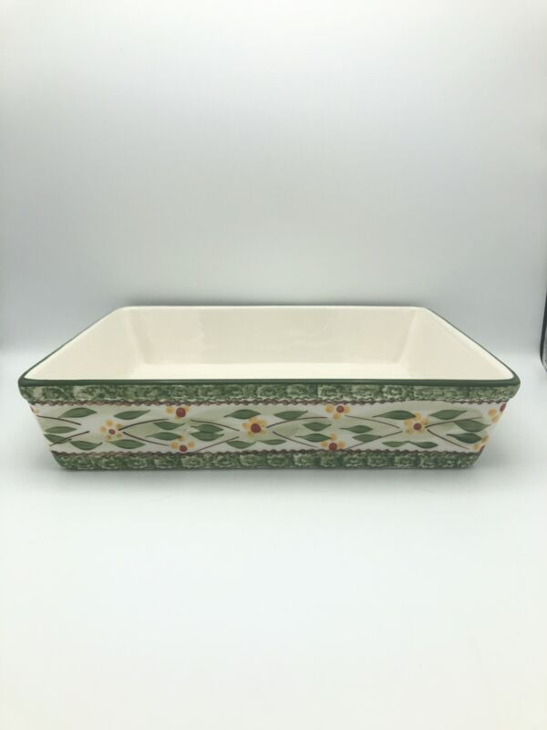 "TEMPTATIONS by Tara Old World Green Rectangle Baking Serving Dish 11""x13""x3"""