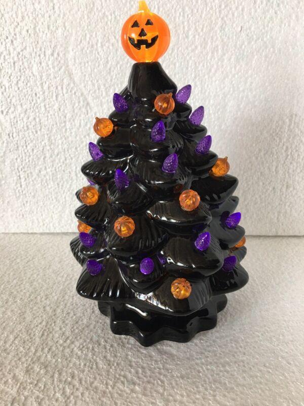 "New Halloween Ceramic Tree With Lights Medium Size 10"" Holiday Decor"