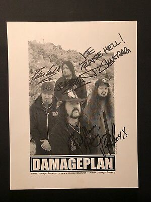 Damageplan fully signed 8.5x11 B&W promo photo Dimebag and Vinnie Paul Pantera