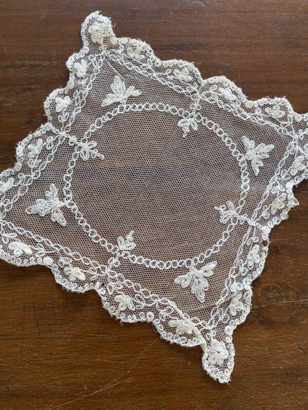 Vintage Handkerchief Hankie Tambour Lace Gorgeous
