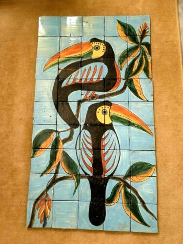 Large Vintage Tile Mural Mexican California Spanish Hand painted Birds 45 tiles
