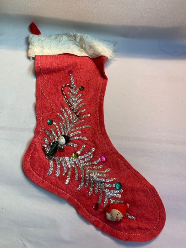 """Vintage Christmas Felt Stocking with Spun Cotton Glitter Santa 15"""""""