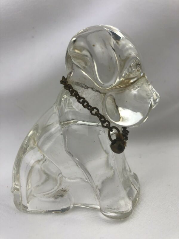 Vtg 40s Molded Glass Sitting Dog Candy Container Metal Bell Chain Collar