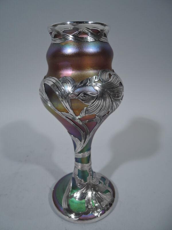 Quezal Vase - Antique Art Nouveau   American Art Glass & Silver Overlay