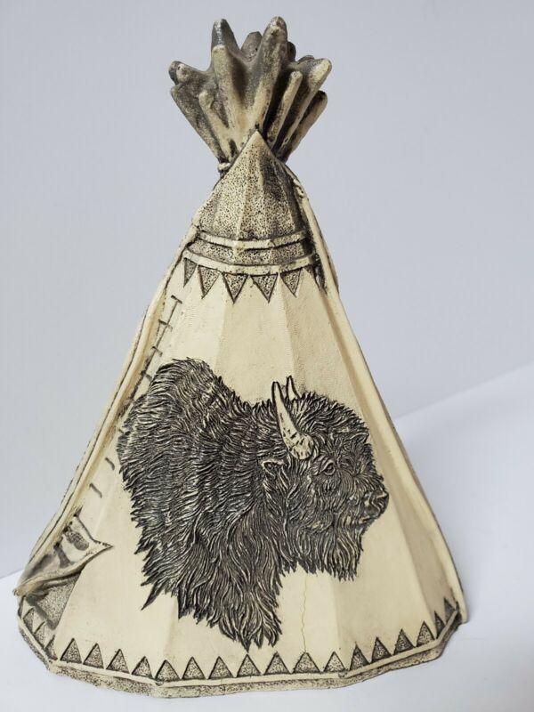 "Native American 6"" Tee Pee Figurine Western Theme with Bison/Buffalo imprint"