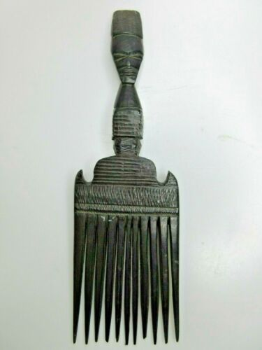 Vintage African Hand Carved Wooden Hair Comb Afro Pick Indeginous Carved Face