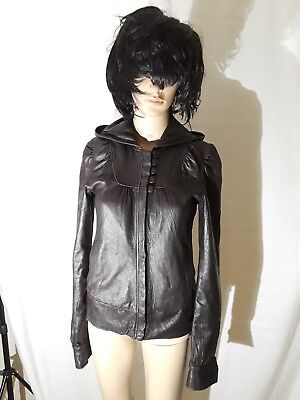 Mike and Chris brown leather jacket with hood size XS ()