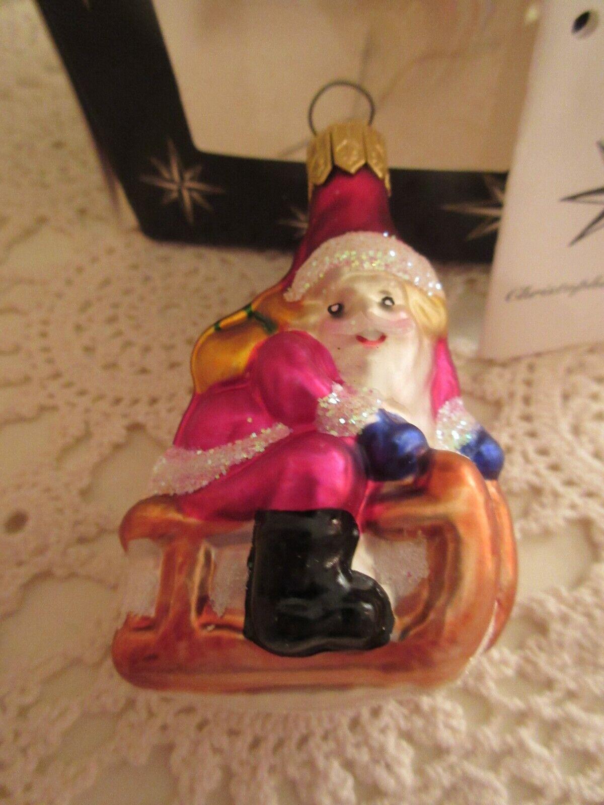 NEW Christopher Radko Santa Glass Christmas Ornament Slip 'n Slide Germany
