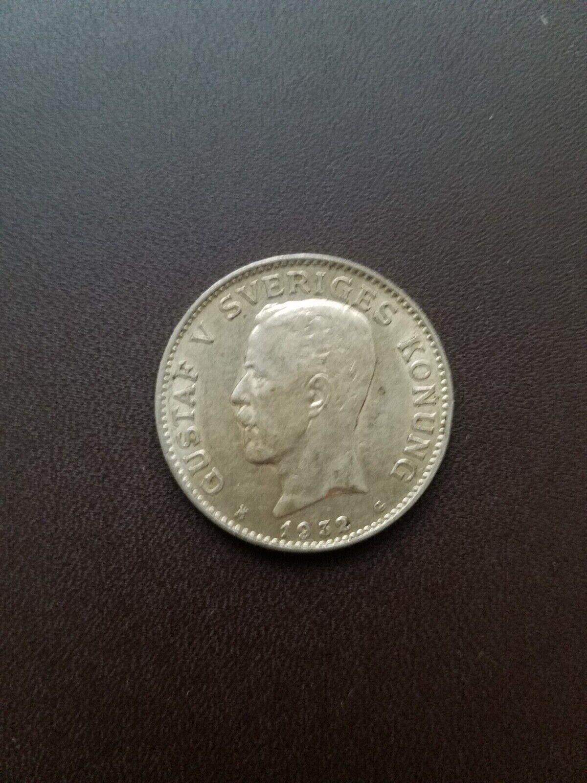 Sweden, 1932 Krona .800 Silver Gustav V. XF Or Better. Very Nice. - $5.00
